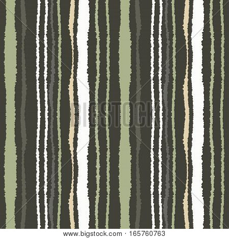 Seamless strip pattern. Vertical lines with torn paper effect. Shred edge texture. Gray, green, olive white dark colored background. Vector