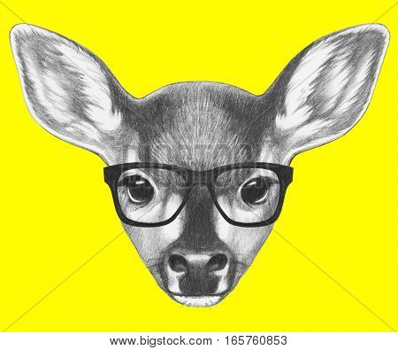 Portrait of Fawn with glasses. Hand drawn illustration.
