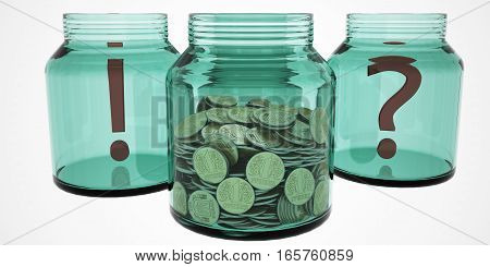 A lot of coins stacked in a glass jar labeled study fund