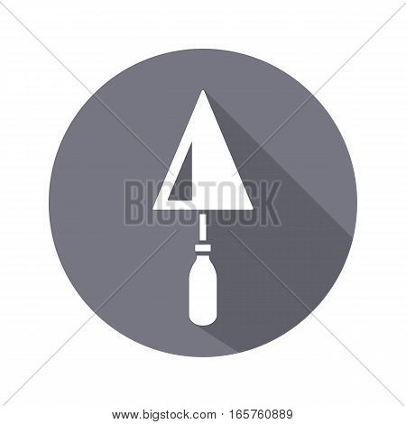 Tool icon. Spattle, surfacer, plastering instrument. Work, job, labour, toil, repair, building symbol. White sign on round gray button with long shadow. Vector isolated