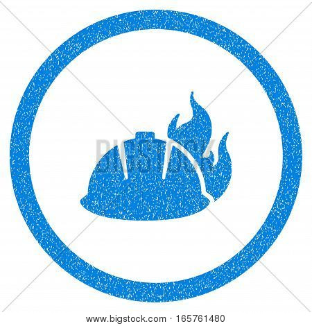 Rounded Fire Helmet rubber seal stamp watermark. Icon symbol inside circle with grunge design and dirty texture. Unclean vector blue sign.