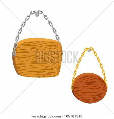 Wood hanging signs vector illustration. Wooden texture cartoon board planks with metal chains.