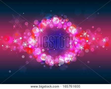 Colorful glittering defocused bokeh winter vector background with place for text