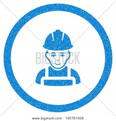 Rounded Glad Worker rubber seal stamp watermark. Icon symbol inside circle with grunge design and dirty texture. Unclean vector blue emblem.