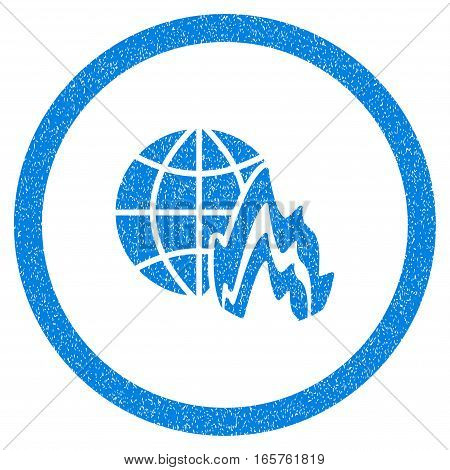 Rounded Global Fire rubber seal stamp watermark. Icon symbol inside circle with grunge design and dirty texture. Unclean vector blue emblem.