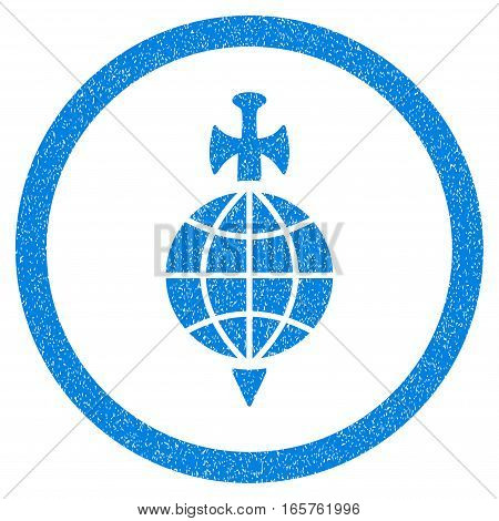 Rounded Global Guard rubber seal stamp watermark. Icon symbol inside circle with grunge design and dust texture. Unclean vector blue sign.