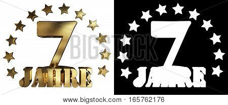Golden digit seven and the word of the year decorated with stars. Translated from the German. 3D illustration