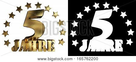 Golden digit five and the word of the year decorated with stars. Translated from the German. 3D illustration