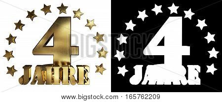 Golden digit four and the word of the year decorated with stars. Translated from the German. 3D illustration