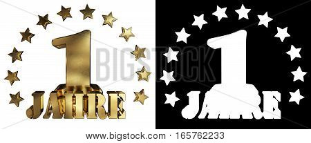Golden digit one and the word of the year decorated with stars. Translated from the German. 3D illustration