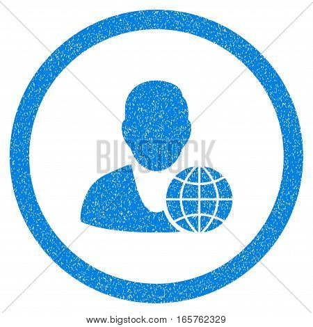 Rounded Global Manager rubber seal stamp watermark. Icon symbol inside circle with grunge design and dirty texture. Unclean vector blue emblem.