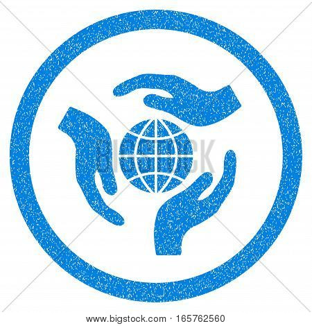 Rounded Global Protection rubber seal stamp watermark. Icon symbol inside circle with grunge design and dirty texture. Unclean vector blue sticker.