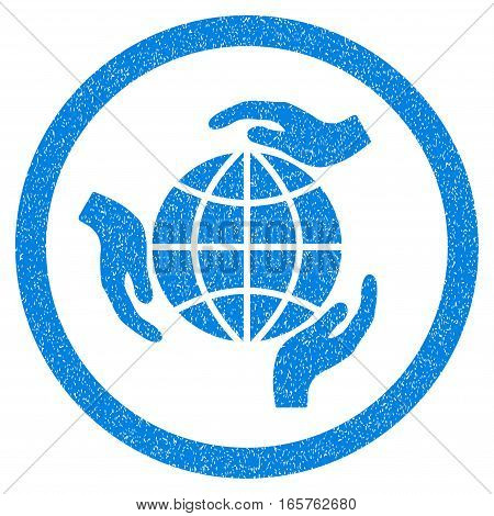 Rounded Global Protection rubber seal stamp watermark. Icon symbol inside circle with grunge design and dirty texture. Unclean vector blue sign.