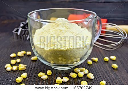 Flour Corn In Cup With Grains On Board
