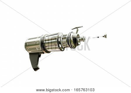 metal space gun isolated on white background