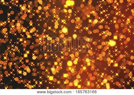 Christmas Golden Sparkle Background With Stars And Bokeh, Gold Holiday Happy New Year