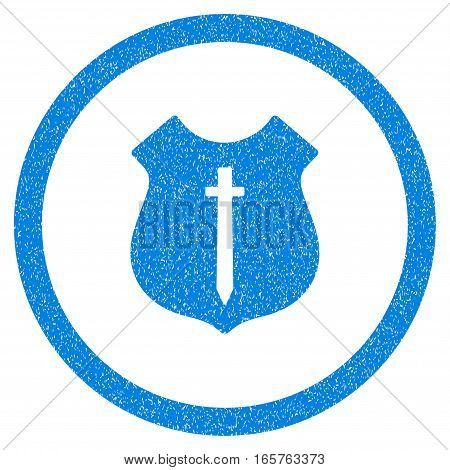 Rounded Guard Shield rubber seal stamp watermark. Icon symbol inside circle with grunge design and unclean texture. Unclean vector blue sticker.