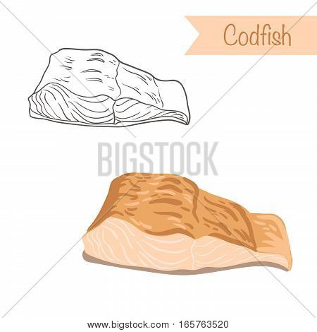 Hand drawn outlined and colored vector codfish
