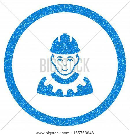 Rounded Industrial Builder rubber seal stamp watermark. Icon symbol inside circle with grunge design and dirty texture. Unclean vector blue sticker.