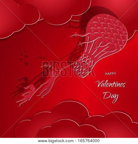 Postcard Happy Valentines Day. Boy and girl flying in a air balloon. Figures from the paper. Vector illustration