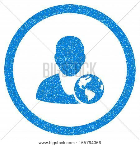 Rounded International Manager rubber seal stamp watermark. Icon symbol inside circle with grunge design and unclean texture. Unclean vector blue sticker.