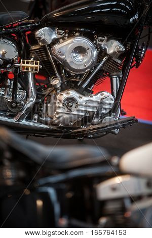 Close up image of a motorcycle engine.