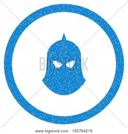 Rounded Knight Helmet rubber seal stamp watermark. Icon symbol inside circle with grunge design and scratched texture. Unclean vector blue emblem.