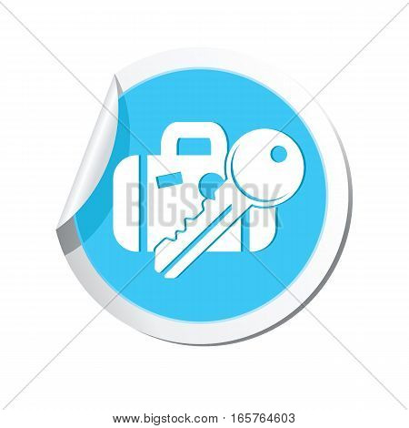 Suitcase and key icon on the sticker