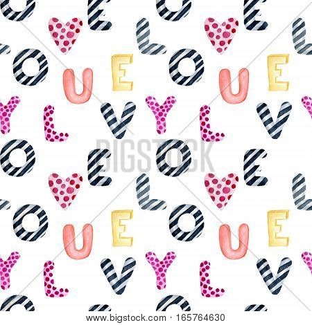 Valentine's Day greeting card template seamless pattern poster wrapping paper. Watercolor letters love you