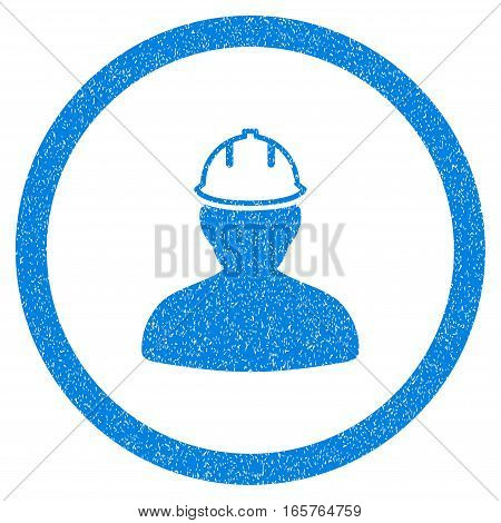 Rounded Person In Hardhat rubber seal stamp watermark. Icon symbol inside circle with grunge design and dust texture. Unclean vector blue sticker.
