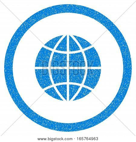 Rounded Planet Globe rubber seal stamp watermark. Icon symbol inside circle with grunge design and unclean texture. Unclean vector blue sign.