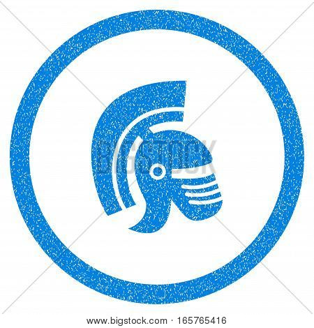 Rounded Rome Helmet rubber seal stamp watermark. Icon symbol inside circle with grunge design and unclean texture. Unclean vector blue sticker.