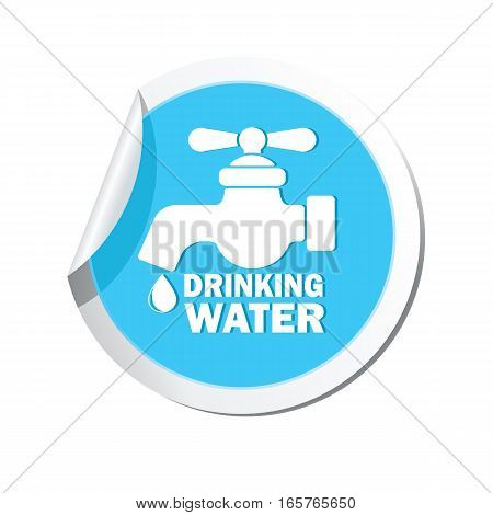 Water tap icon on the sticker. Vector illustration