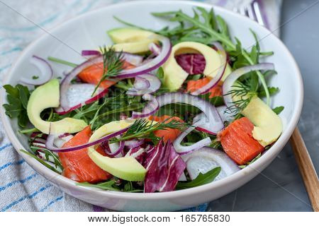 Green light salad with smoked salmon and avocado. Love for a healthy food concept