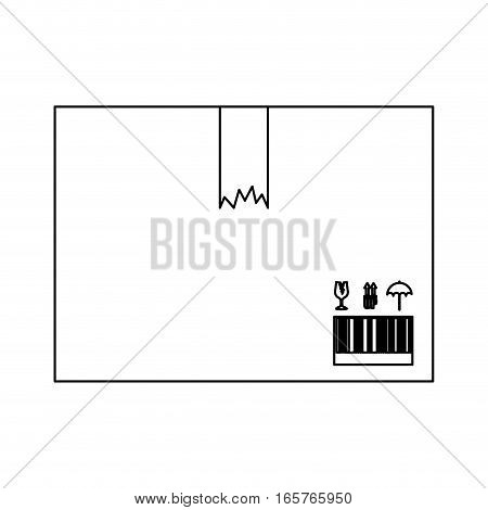 black silhouette box with broken packing tape vector illustration