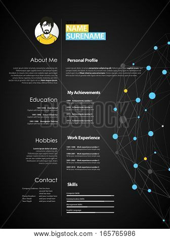 Creative simple cv template with blue and grey circles and dots on web - dark version