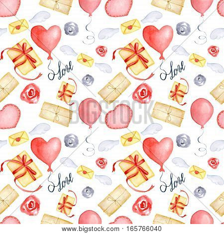 Watercolor Valentine's Day greeting card template seamless pattern poster wrapping paper. Gifts and presents hearts balloons and other romantic elements