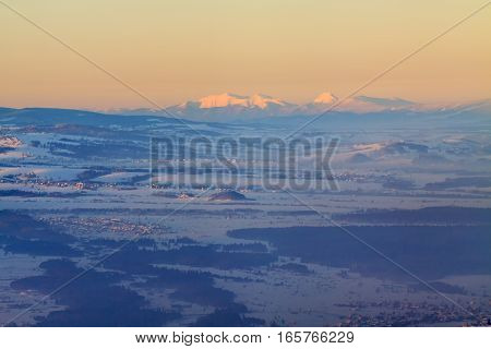 Beautiful winter view of Tatra mountains from Luban observation tower.