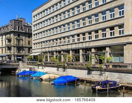 Zurich, Switzerland - 20 April, 2016: the Schanzengraben moat and buildings along it. The Schanzengraben is a moat that was built between 1881 and 1887, it is one of the last remains of the Baroque fortifications of Zurich.