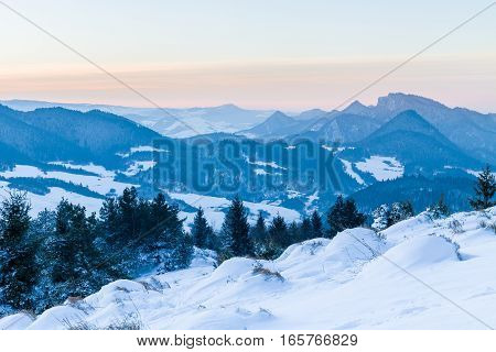 Winter panorama of Pieniny mountain with Three Crowns Peak.