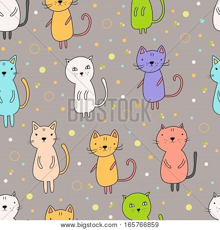 Seamless pattern with cartoon cats on a gray background