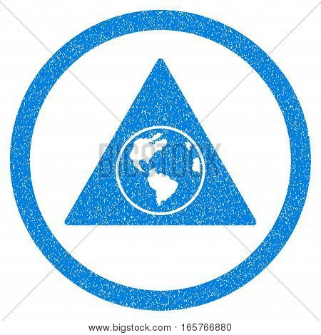 Rounded Terra Triangle rubber seal stamp watermark. Icon symbol inside circle with grunge design and dirty texture. Unclean vector blue sign.