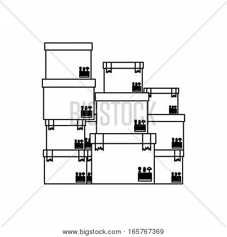black silhouette contour boxes stacked and sealed vector illustration