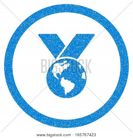 Rounded World Medal rubber seal stamp watermark. Icon symbol inside circle with grunge design and unclean texture. Unclean vector blue sticker.