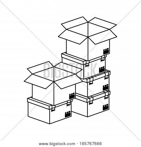 black silhouette contour boxes stacked and some opened vector illustration