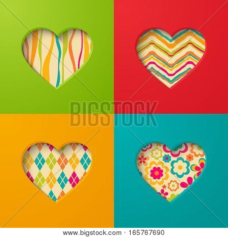 Paper creative cards with heart. Vector illustration.
