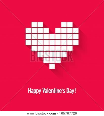 Valentines Day Card With Abstract Pixel Heart.