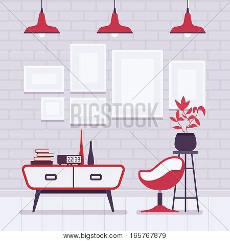 Retro loft interior, wall frames for copyspace and mockup, peacefull living environment, soothing warm grey painted brick walls, contrasted red well-designed pendant lamps, plastic chair, side table