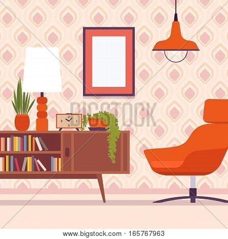 Retro interior, wall frame for copyspace and mockup, peacefull living environment, warm and inviting decorating ideas, patterned wallpaper, standing bookshelf, soft chair, pendant lamp