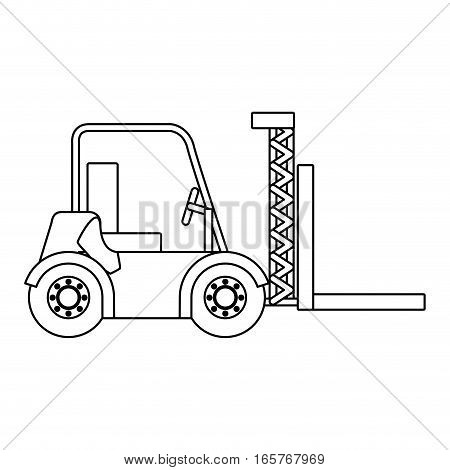black silhouette contour forklift truck with forks vector illustration